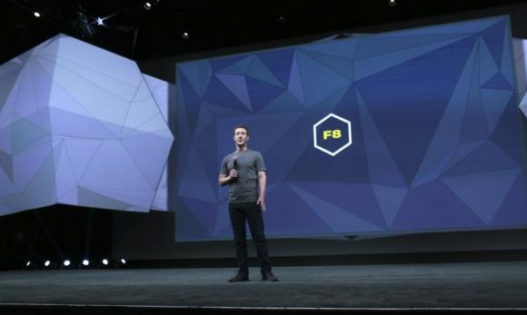 Facebook CEO Mark Zuckerberg stands on stage prior to his keynote