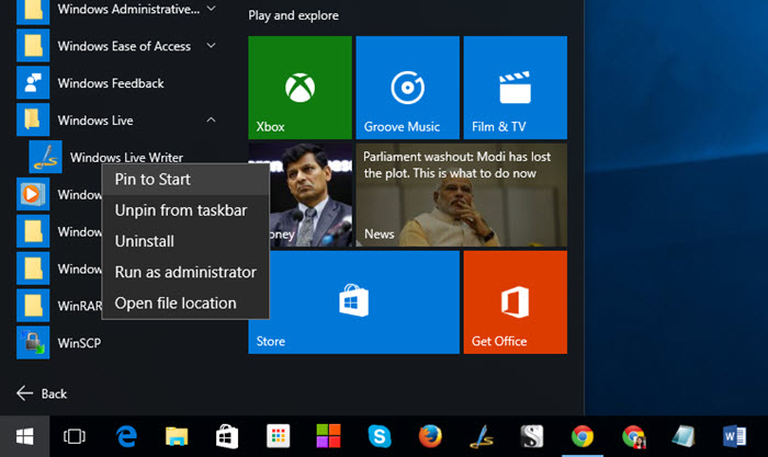 Pin Fav Apps Windows 10