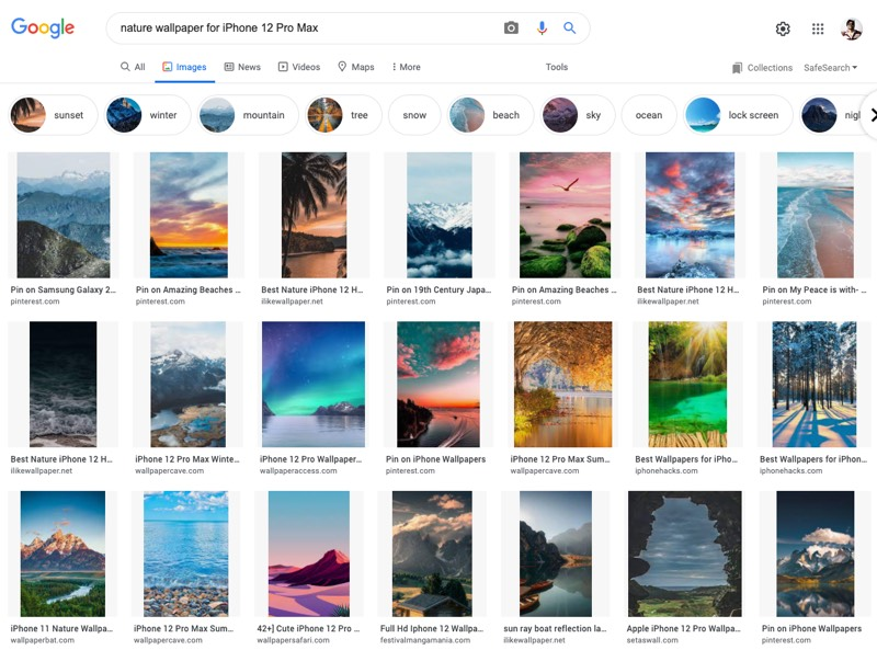 Mobile Wallpapers in Google Search