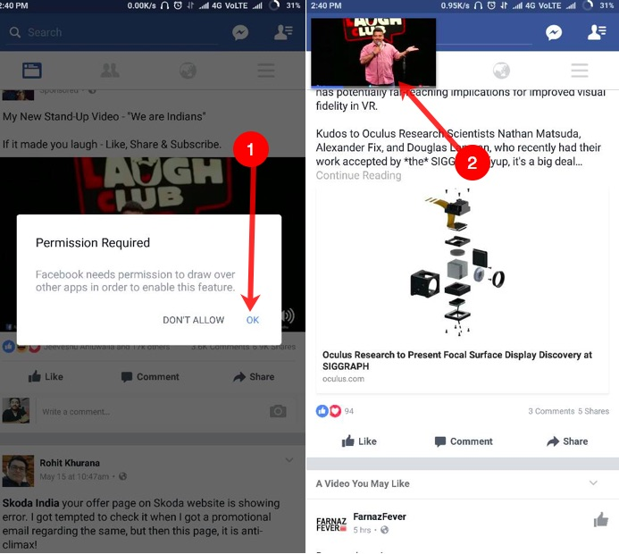 Pop out & Play Facebook Videos on Mobile Outside the App