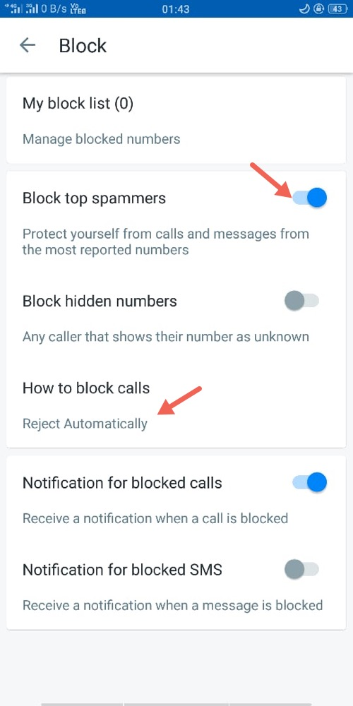 Block Calls in Trucaller App