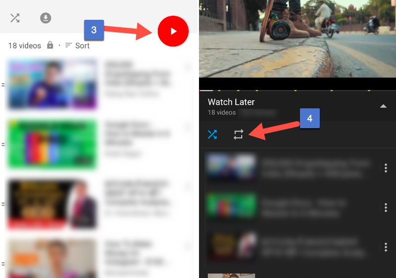 How to Play Videos on Youtube on Repeat Mode on Android Mobile