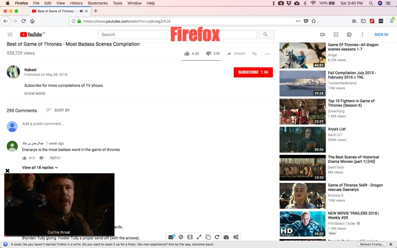Watch Videos while reading comments Chrome
