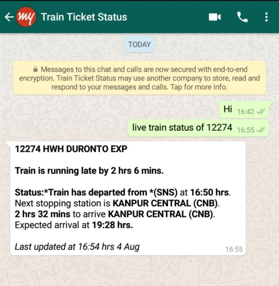 Check Live Runnng Train Status On Whatsapp Techtippr