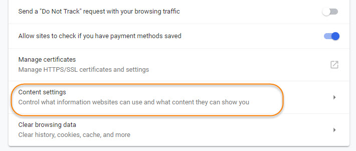 Content Setting Section in Google Chrome