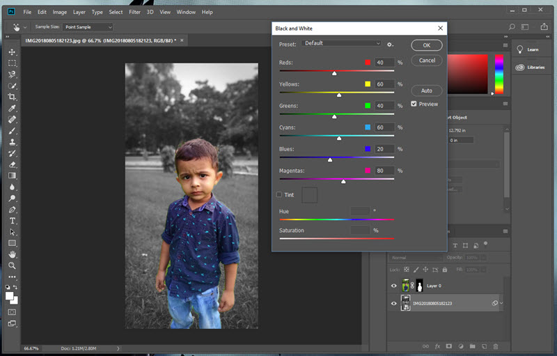 Change BG Colour from Images in Photoshop CC 2018
