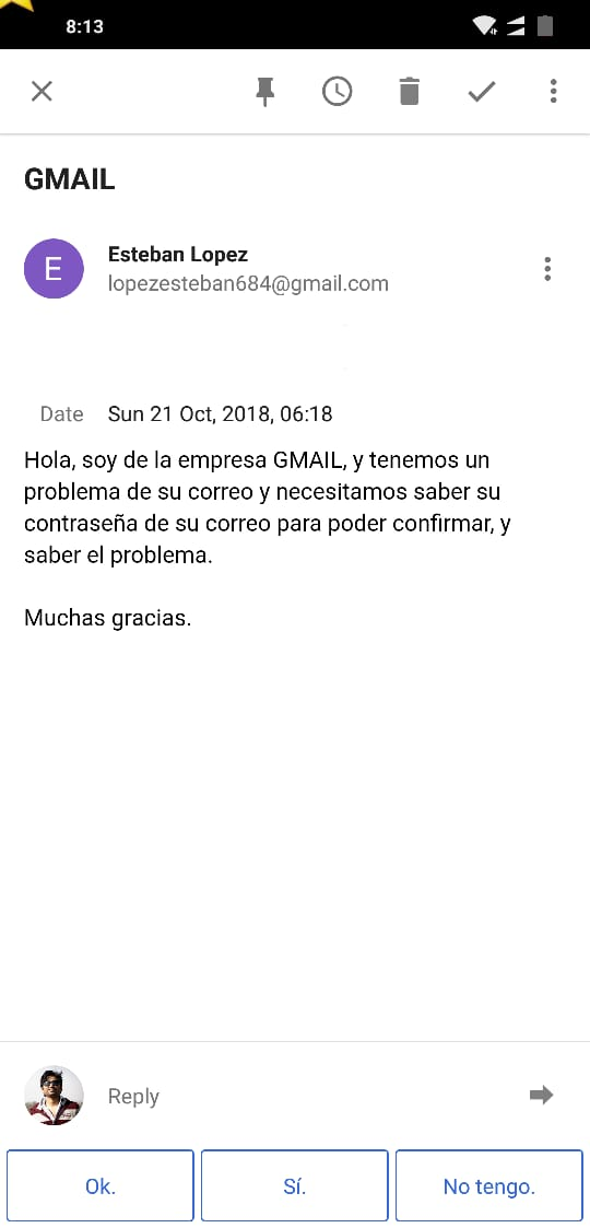 Email asking for my Gmail Password – Spanish