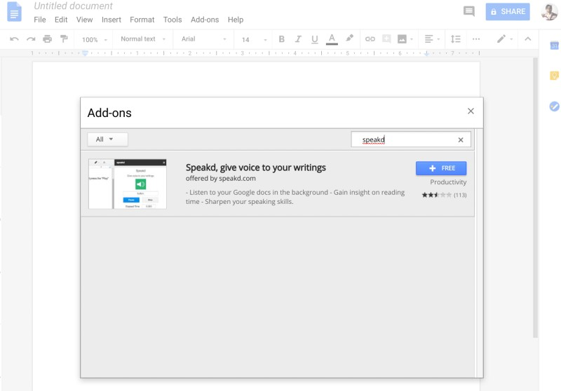 Add this Text to peech Add-On to Google Docs to Read Your Documents