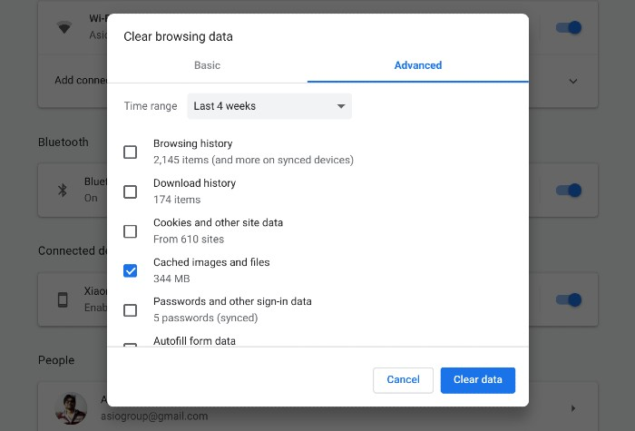 delete browsing history in chrome