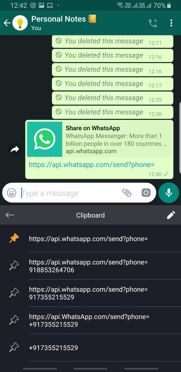 WhatsApp Messages Unsaved Number