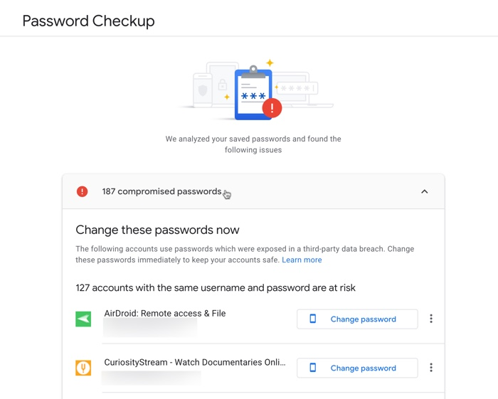 Check Compromised Passwords
