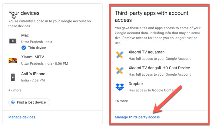 Third Party Sccount Access to Google